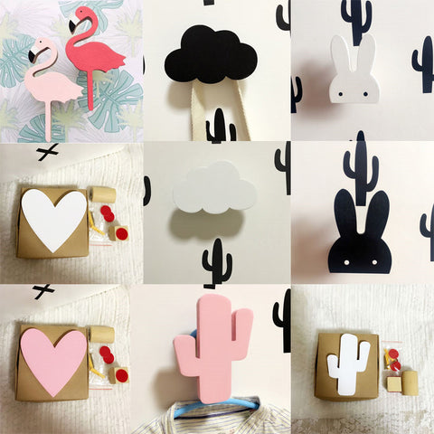 Nordic Wooden ice cream /Bunny/Bat/beard/Clouds baby Kids Clothes Hook
