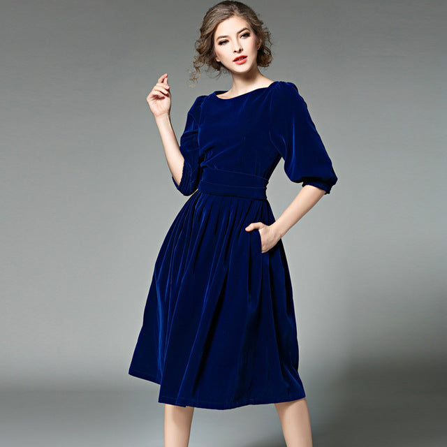 85c9e58eabd77 OL Style Women Blue Velvet Dress Spring – I sell what I love