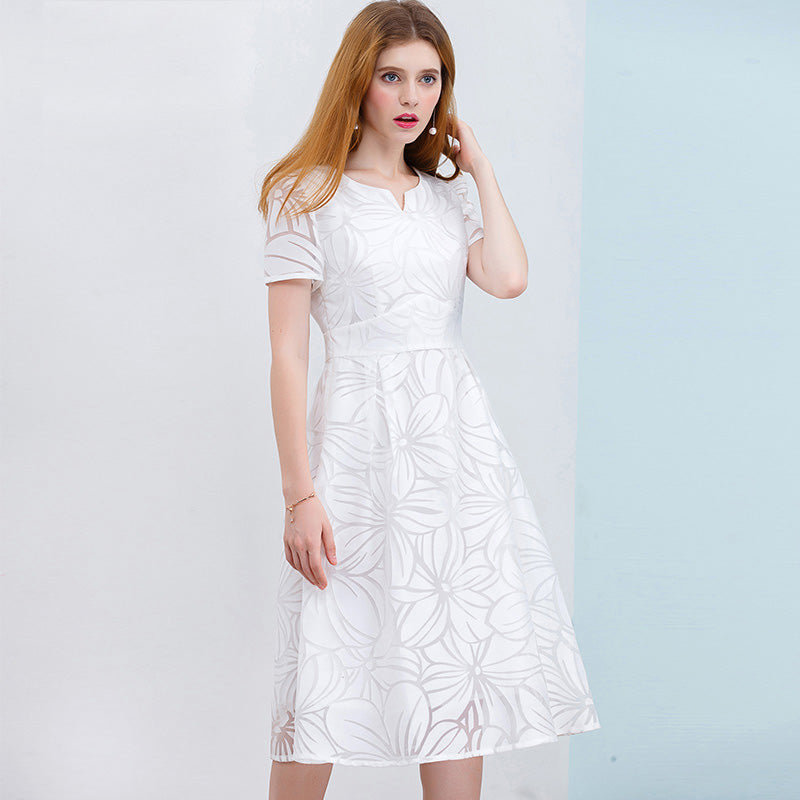 cca8eefca60df Women White Dress Short Sleeve A-Line Midi Party Dress Casual Elegant – I  sell what I love