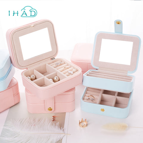 Portable 3 layers Jewelry box with mirror travel small