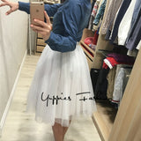 Quality 5 Layers 65cm Fashion Tulle Skirt Pleated