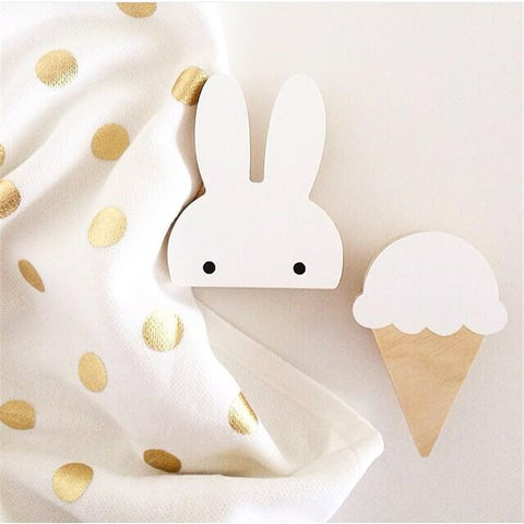 Rabbit Wooden Clothes Wall Hook Kid Baby Room Decoration