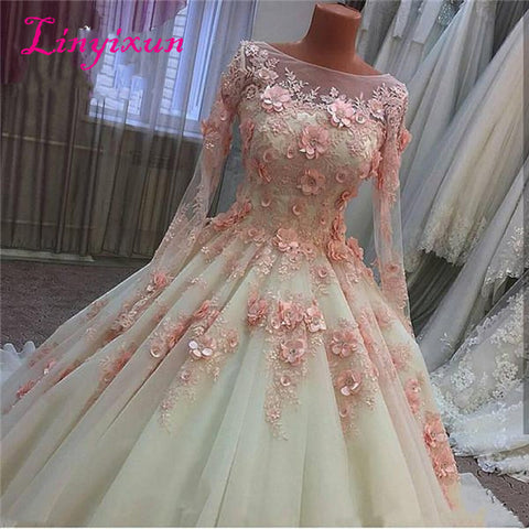 Florwers Handmade Flowers Court Train Tulle Long Sleeves