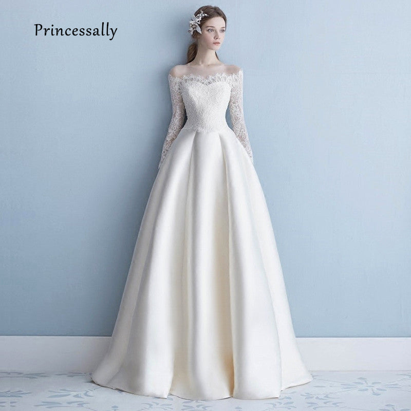 Wedding Dress Full Sleeve Lace Boat Neck Elegant Long Satin Bride