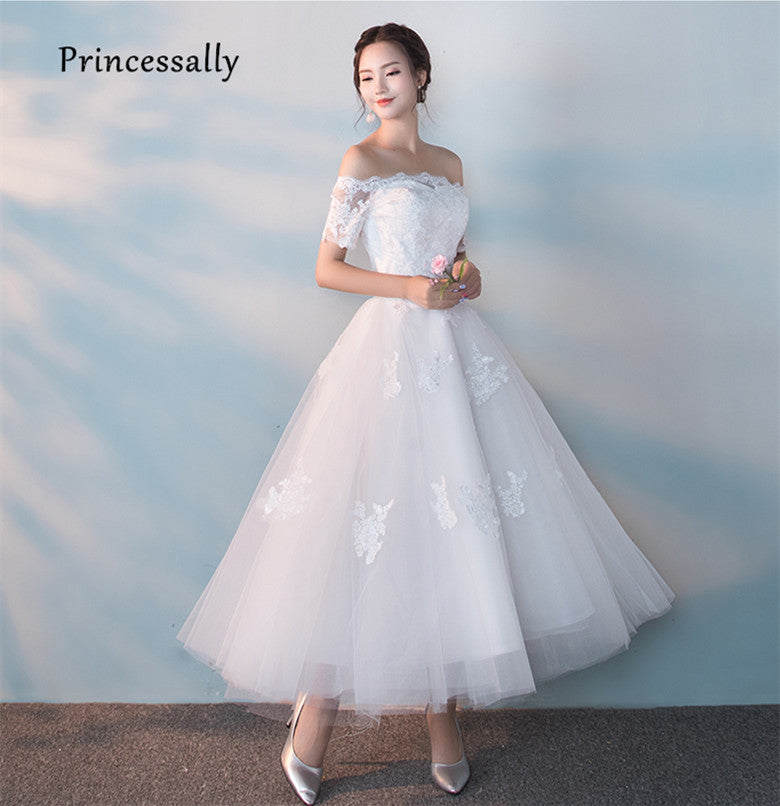 32e86c627e8 Robes De Mariage New White Bride Ankle-length Gown Sexy Boat Neck Short  Sleeve Embroidery