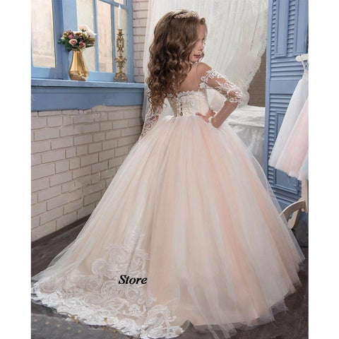 b2c32b5c60a Romantic Champagne Puffy Lace Long Sleeve Flower Girl Dress – I sell ...