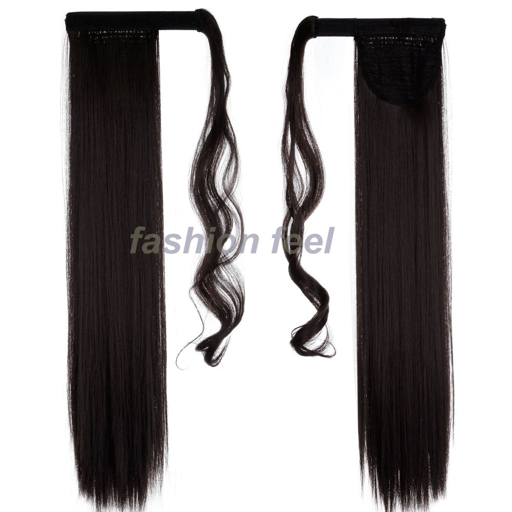 Real Thick Clip In Pony Tail Hair Extensions 58 66cm Straight Black