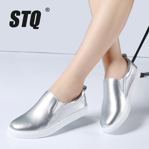 2018 Spring Women Leather Loafers Fashion ballet flats sliver