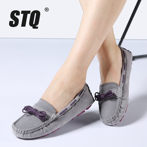 Shoes female slip on flat heel casual shoes leather suede flats Moccasins