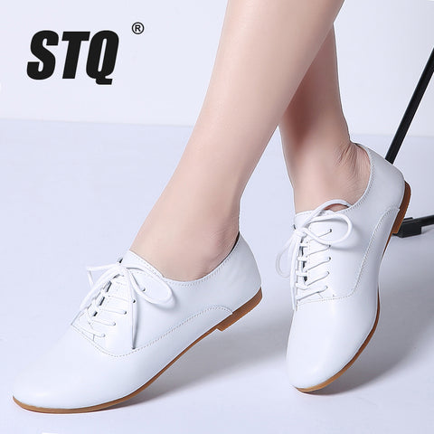 Spring women oxford shoes ballerina flats genuine leather lace up loafers