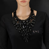 Luxury Sexy Gothic Black Lace Collar ChokerCrystal Tattoo Statement Necklaces For Women