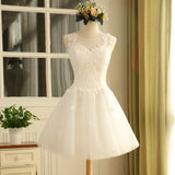 White sweat lace lady girl women princess bridesmaid banquet party ball dress gown