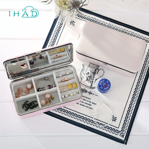 Simple Portable PU Jewelry Box with mirror Earring Ring organizer