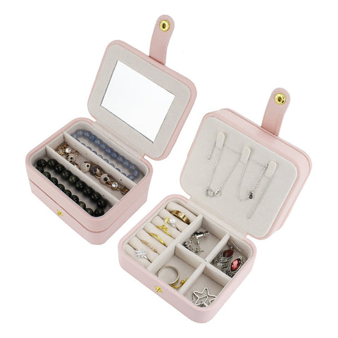 Small Travel Accessories Case Jewelry Storage Casket Leather