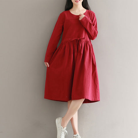 Spring Girl Solid Dress Women Robe Round Neck