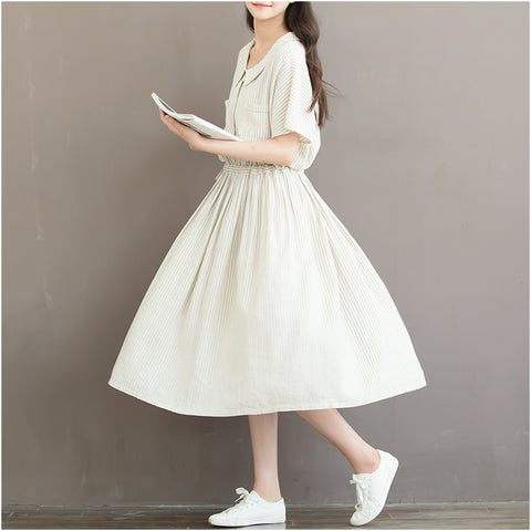 b5b07fd9cf46 Summer Korean Linen Peter Pan Collar Striped T Shirt Dress Women – I ...