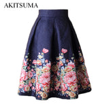 Skirts Women Midi High Waist Floral Skirt