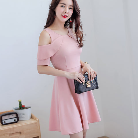 Summerdress Korean cute - Hollow Out Pink dress fashion slim girl