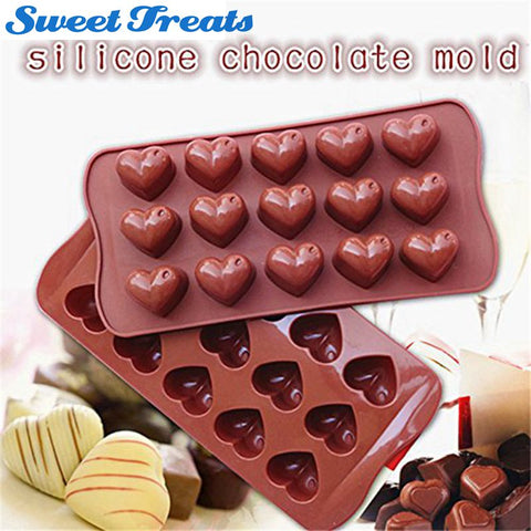 1 pc 15 Holes Heart Shape Chocolate Mold DIY Silicone