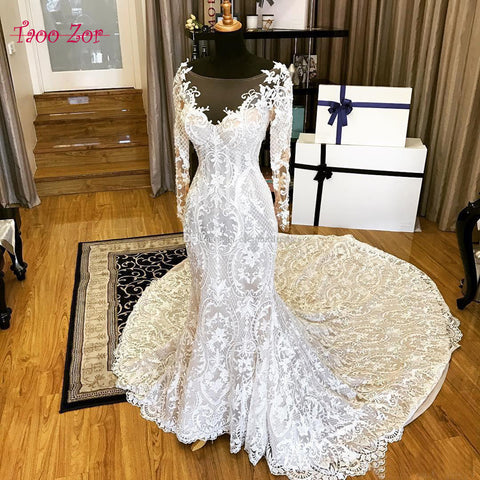 Classic Embroidery Lace Mermaid Wedding Dresses