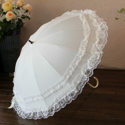 Two Layers Lace Manual Opening Wedding Umbrella Bridal