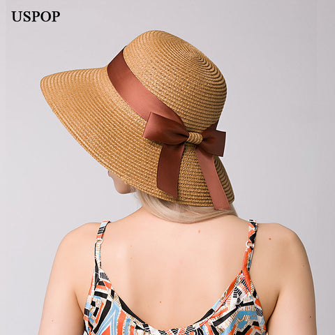2018 New Fashion women straw sun hat female wide brim bowknot ribbon 6e83aa402087