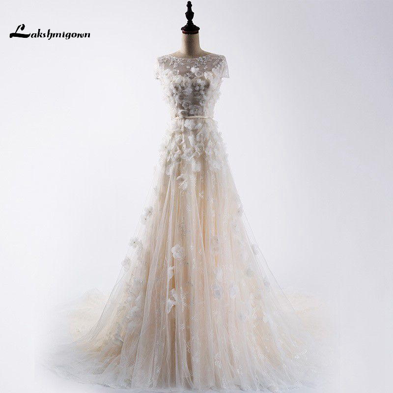 Lace Wedding Dress Short Sleeves Sexy Back Lace Up Pearl Wedding Gowns