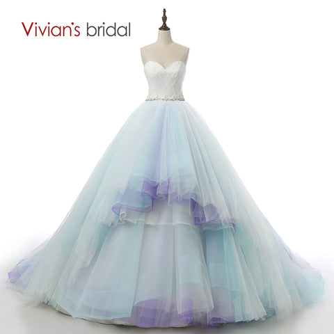 Sexy New Arrival Colorful Blue And White Wedding Dresses