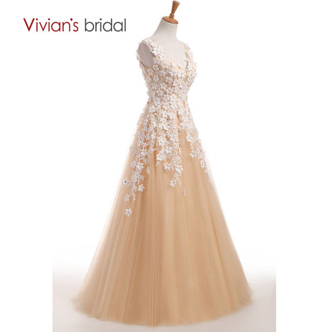 Champagne A Line Wedding Dress Flower Bridal Gowns