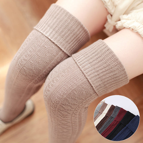 New winter/autumn thickness women high quality needle cotton knee high socks