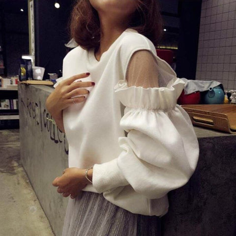 Autumn Fashion Streetwear Shoulder Mesh