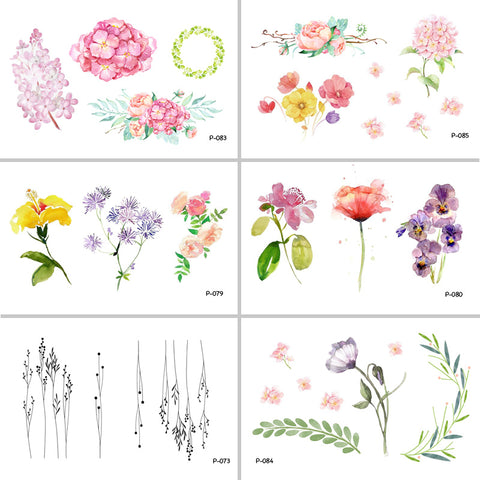 Watercolor Flower Waterproof Temporary Tattoo Stickers  Tatoo