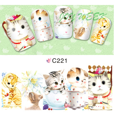 Water sticker for nails art all decorations sliders cute cat kitty nail design