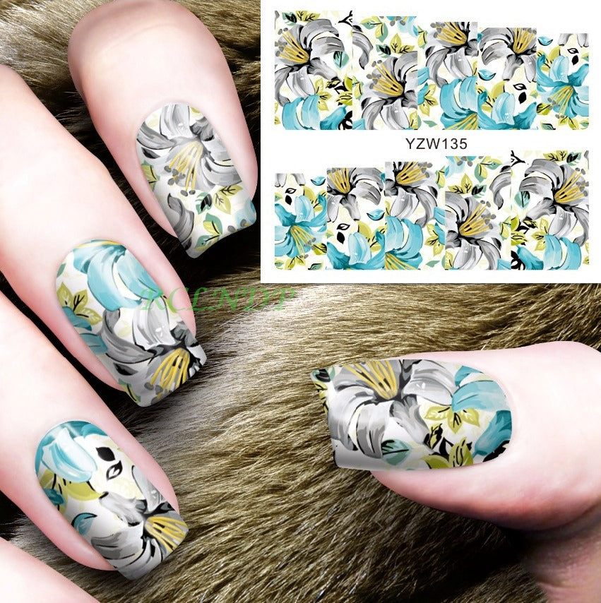 Water Sticker For Nails Art Decorations Sliders Yellow Blue Orchid