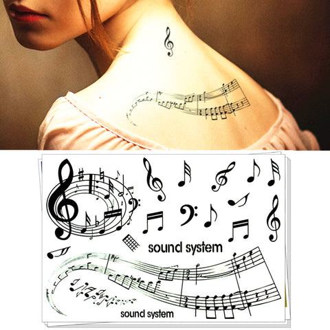 Waterproof Temporary Tattoo Sticker music musical note feather totem fake tattoos