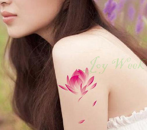 Waterproof Temporary Tattoo Sticker pink lotus tattoo for girl