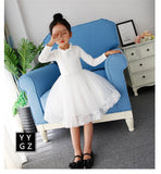 White Baby Girls Dress Spring Princess Ball Dress 3-11Y