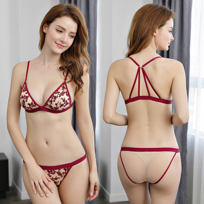 Women Sexy Bra Set Ultra-thin Lingerie Set Wire Free Floral Lace Bras Underwear Embroidery Push Up Bra and Panties Set