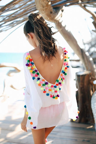 aca0747915033 Open Back Fringe Cover Up Tunic Tassel Beach Cover Up – I sell what ...
