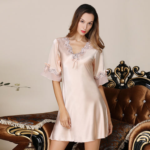 Women Sexy Lingerie Nightgowns Satin Nightdress Lace Night Dress