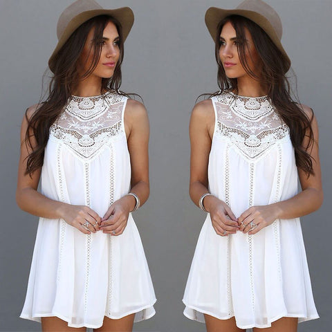Crochet Tunics Dresses Sleeveless Flower Embroidery Lace Shirt Hollow Out