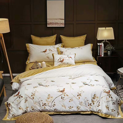 Yellow White Luxury Egyptian cotton Oriental Bedding sets