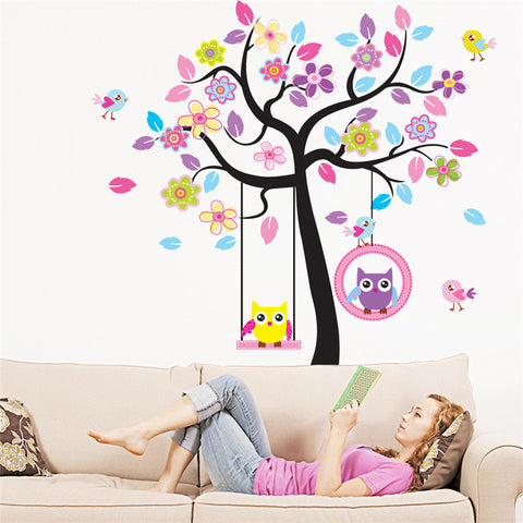 New Owl Bird Swing tree Wall Stickers