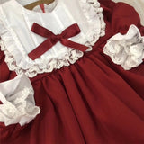 Dress vintage red baby Girls princess Dress Lace long sleeve New Year