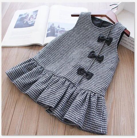 Plaid sleeveless bow Winter Kids Dresses For Girls
