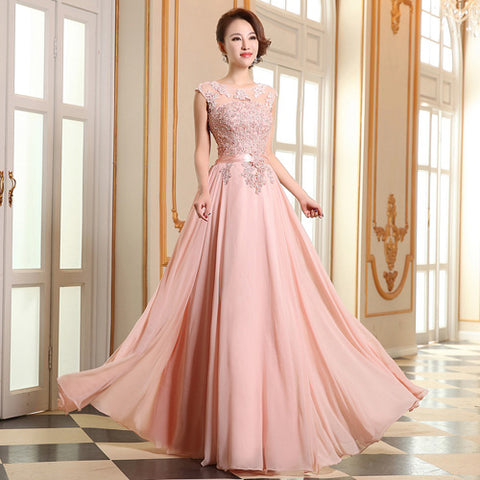 long eveing dress Bridesmaid coral colored