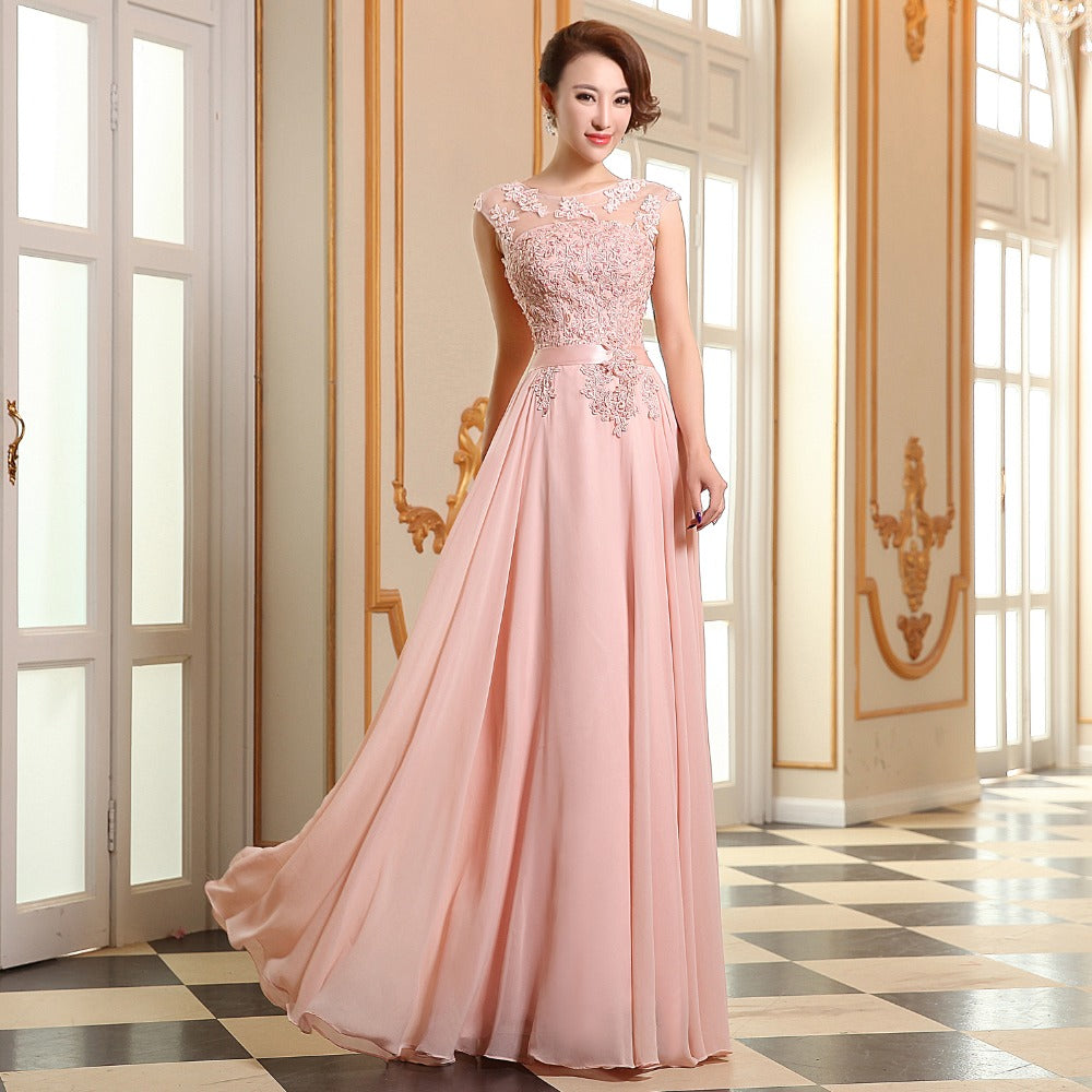 long eveing dress Bridesmaid coral colored – I sell what I love 45700b8df873