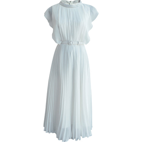 65ea92dcc White dress summer korean style short sleeve casual solid long pleated  dresses women