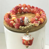 Summer style lucky cat crystal natural stone bracelet multilayer beaded bracelet