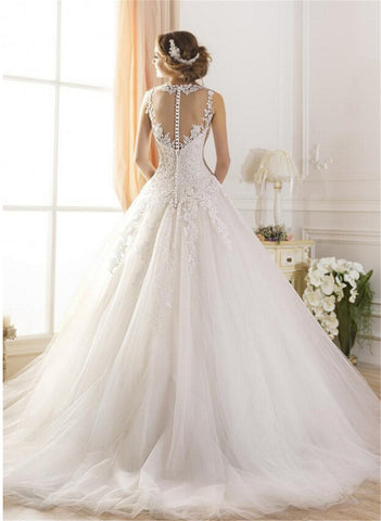 Princess Lace A line Appliques Scoop Bridal Gown Luxury Vintage Sleeveless